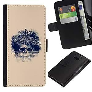 KLONGSHOP // Tirón de la caja Cartera de cuero con ranuras para tarjetas - Cráneo floral de la mariposa - HTC One M8 //