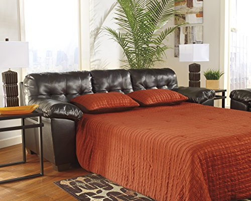 Alliston DuraBlend Contemporary Chocolate Color Faux Leather Queen Sofa Sleeper