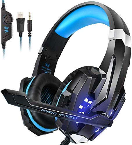 PS4 Headset, INSMART PC Gaming Headset Over-Ear Gaming Headphones with Mic LED Light Noise Cancelling & Volume Control…