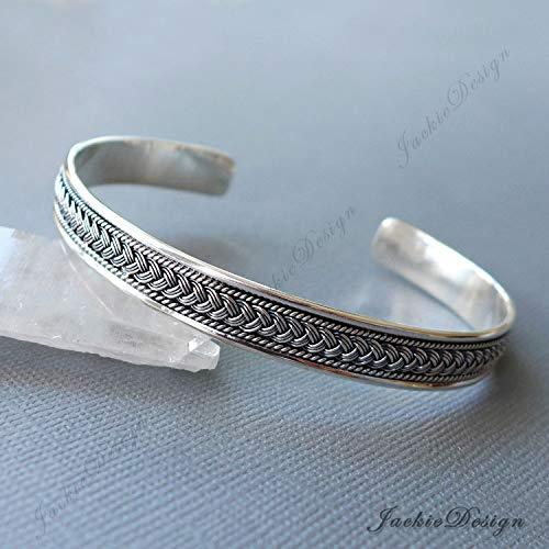 Braided Pattern Bali Ornate Handmade 925 Sterling Silver Bangle Cuff Bracelet JD213