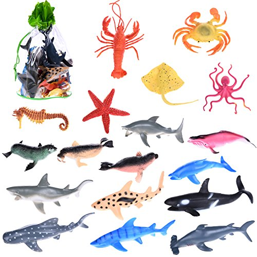 Sea Animals Bath Toys Plastic Summer Ocean Creatures Collection Underwater Marine Fish 18 Pcs - Includes a Storage Bag (Halloween Fish Counter)