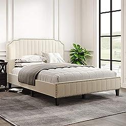 Bedroom Elegant 3 Pieces Queen Bedroom Set Linen Curved Upholstered Platform Bed and Black Cherry Nightstand (Queen Upholstered… modern bedroom furniture sets
