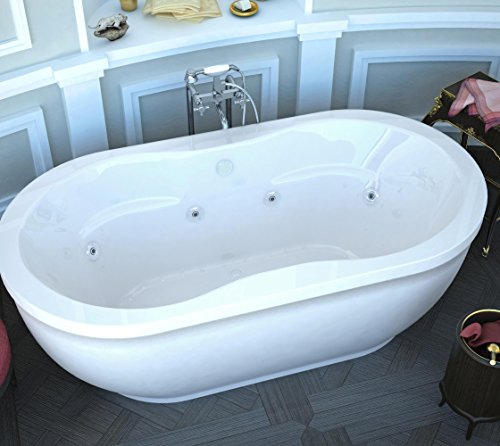 Spa World Venzi Vz3471ad Velia Oval Air U0026 Whirlpool Bathtub, 34x71, Center  Drain, White