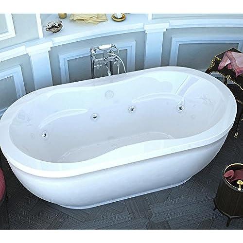 Bon Spa World Venzi Vz3471ad Velia Oval Air U0026 Whirlpool Bathtub, 34x71, Center  Drain, White