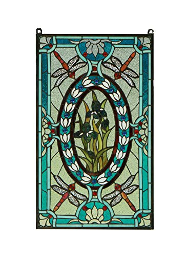 TMI ART Tiffany Style Stained Glass Window Panel Dragonfly & Iris Flowers,20.5