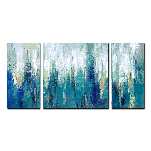 FLY SPRAY 3 Piece 100% Hand Painted Oil Paintings Panels Stretched Framed Ready Hang Modern Abstract Blue White Painting Canvas Living Room Bedroom Office Wall Art Home Decoration by FLY SPRAY