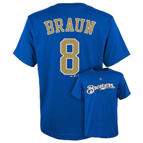 Majestic Athletic Milwaukee Brewers MLB Youth Boys #8 Ryan Braun Player Tee T-Shirt, Blue (Blue, Large)