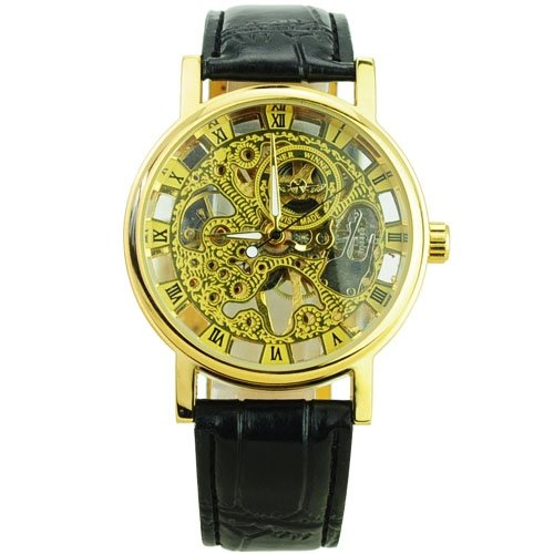 17010 Winner Transparent Skeleton Mechanical Watch with Round 6PTkVph7W Dial - gMmbmmn Gold watch time clock wrist hand arm aheuuieughnvbnc234 ghvnbmkl456 ghjjfwe This product fQo8ux is self-winding automatic mechanical wristwatch designed with leat