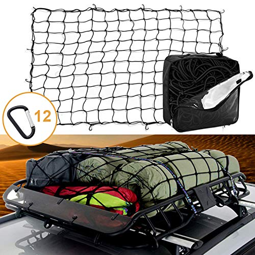 4'x6' Latex Bungee Cargo Net Stretches to 8'x12' Heavy Duty Elastic Luggage Car Rack Netting with 12 Aluminum D-Clip Tangle-Free Carabiners Truck Bed Mesh Spider Web Tie Down Pickup SUV Trailer Boat