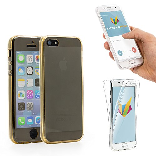 Mobilefox 360° Full Case Silikon Hülle Display Schutz Apple iPhone 5/5S/SE Gold