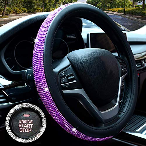 Valleycomfy Colorful Diamond Leather Steering Wheel Cover with Bling Bling Crystal Rhinestones, Universal Fit 15 Inch Anti-Slip Wheel Protector for Women Girls ()