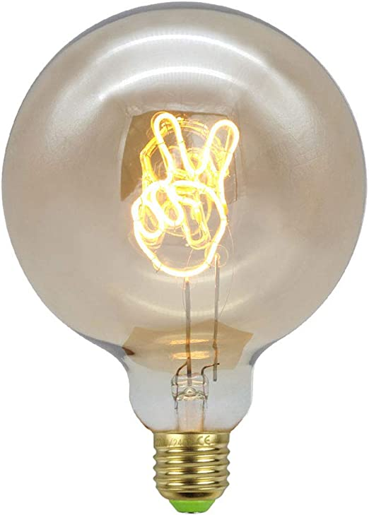WRMING Vintage Gesto de Victoria Bombilla G125 Edison LED Filamento Suave Decoración Lámpara de Mesa Bombillas Regulable E27 4W: Amazon.es: Hogar