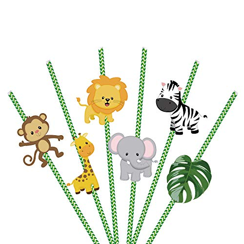 Jungle Animal Party Decorations,Jungle Animal Paper Straws 36Ct-Forest Theme Stripe Paper Straws with Monkey,Elephant,Giraffe and Zebra Straws for Birthday Party