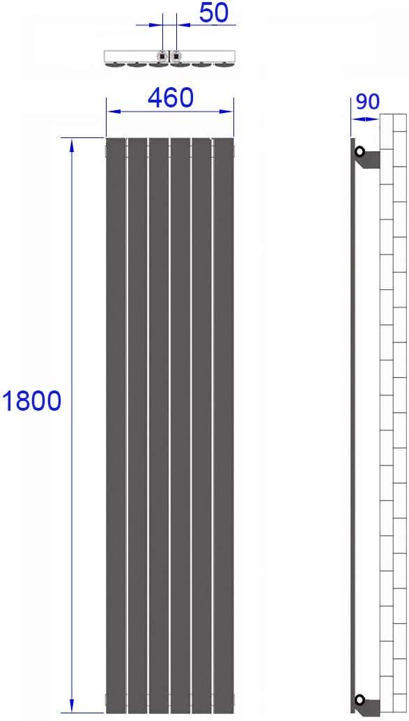 Design Flach Heizk/örper 630 x 620 mm Horizontale Wei/ß Panelheizk/örper Seitenanschluss Doppellagig Heizung