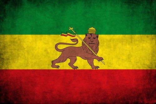 American Vinyl Distressed Ethiopia Lion Flag Sticker