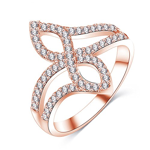 LuckyWeng New Exquisite Fashion Jewelry Rose Gold Cross Austrian Crystal Diamond Ring