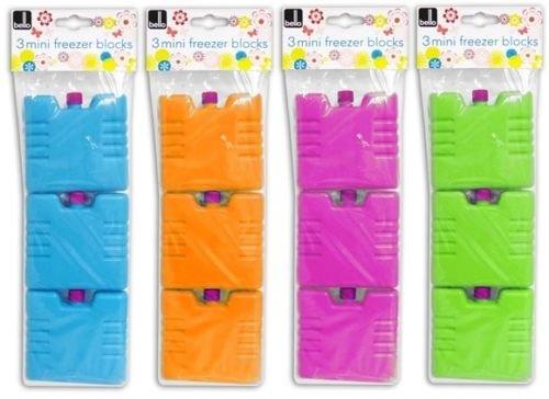 Set of 3 Mini Freezer Blocks, Green, Orange, Blue or Pink