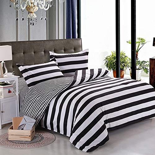 Nokolulu Lightweight Stripe Modern Duvet Cover Set - 2 Piece Bed Set Cover  Ultra Soft Microfiber Kid Boys Bedding Set Home Textile(1 Duvet Cover + 1 Pillow Shams)(Twin,Black and White)