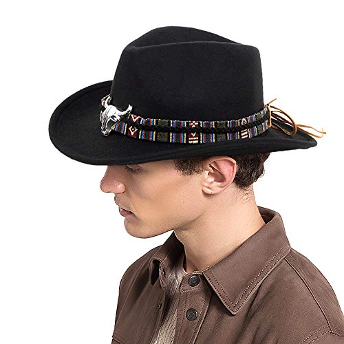 - FALE Cowboy Hat Western Crushable Felt Outback Hat with Silver Headdress for Men Women, Black