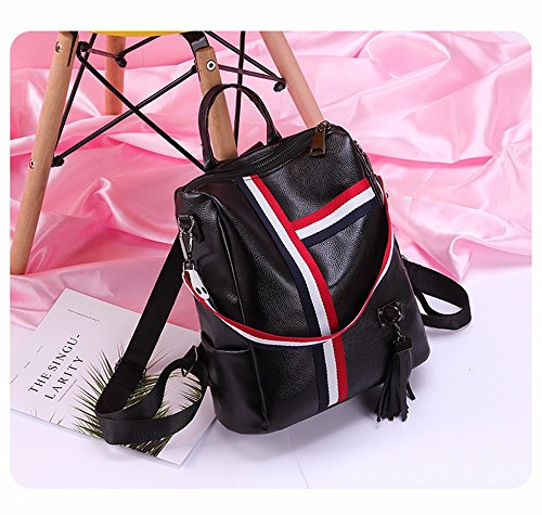 GQFGYYL leisure capacity bag Black backpack large women Double shoulder bag axqa0r