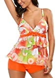 Bong Buy Women Two Piece Fashioned African Ruffled Flounce Swimsuit Vintage Tankini Top with Boyshort Bottoms XL,Orange