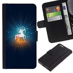 KLONGSHOP // Tirón de la caja Cartera de cuero con ranuras para tarjetas - Sagitario signo del zodiaco - Apple Iphone 6 PLUS 5.5 //