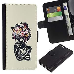 JackGot ( Floral corazón cráneo esqueleto Primavera ) Apple (5.5 inches!!!) iPhone 6+ Plus / 6S+ Plus la tarjeta de Crédito Slots PU Funda de cuero Monedero caso cubierta de piel