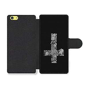 Inverted Cross Crucifix with Black Roses Grunge Goth Emo Style Design Funda Cuero Sintético para iPhone 5C