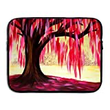 Ministoeb Pink Willow Love Painting Art Laptop Storage Bag - Portable Waterproof Laptop Case Briefcase Sleeve Bags Cover