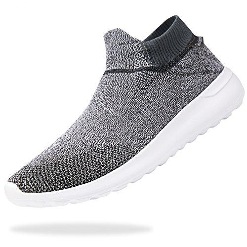 VIFUUR Mens Lightweight Casual Walking Athletic Shoes Breathable Running Slip-on Sneakers Socks Shoes