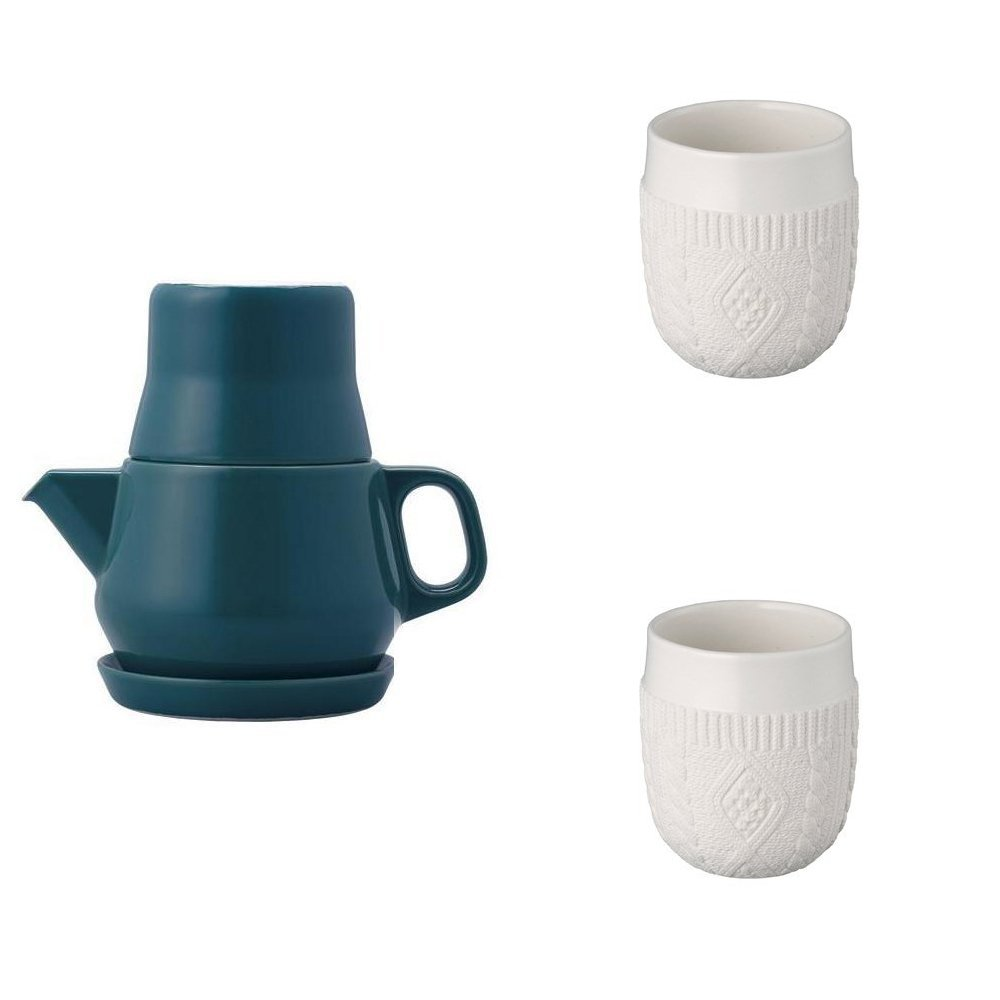 KINTO Turquoise Tea For One and Two Double Wall Cup, Knit, Set of 3