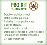 TickPro Kit Remover 3 Piece with Case. Tick Removal Tool/Tweezers for Pets (Cat, Dogs,Horses) and Humans. Durable Double Coated Stainless Steel.Premium