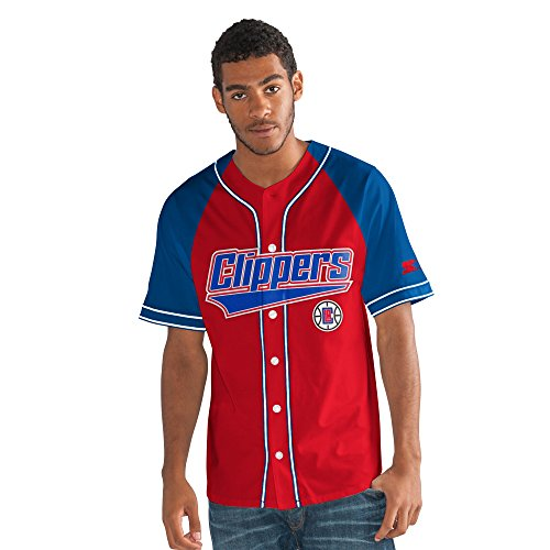 STARTER Adult Men The Player Baseball Jersey, Red, Large