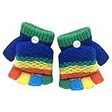 SetMei Toddler Baby Girls Boys Cute Thicken Patchwork Winter Warm Gloves For 2-6 Years old (Dark Blue)