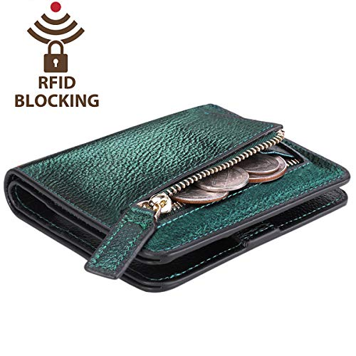 Itslife Women's Rfid Blocking Small Compact Bifold Leather Pocket Wallet Ladies Mini Purse with id Window (Pebbled Green -