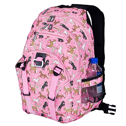 Horse Backpack - Wildkin Serious Backpack, Horses in Pink