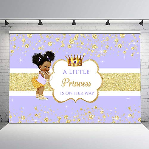 Mehofoto Purple and Gold Baby Shower Backdrop Ethnic Little Princess Photography Backdrop 7x5ft Glitter Gold Diamonds Crown Photo Background for -
