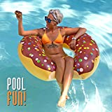 Play Platoon Jumbo Donut Pool Float - Gigantic Chocolate Donut Inflatable - Fun for the Beach or Pool, Includes Patch Kit