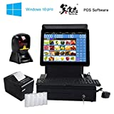 ZHONGJI All In One POS System, Cash Register Set - Includes AP-B6000D Touch Screen PC, Windows10 Pro, POS Software, Handfree Barcode Scanner Thermal Receipt Printer, Cash Drawer(SET03)