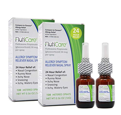 FlutiCare - 120 metered Nasal Sprays (2 Pack) | Fluticasone Propionate 50mcg | Relief During Allergy Season for Pollen, dust, Dander, Both Indoor and Outdoor allergens - 2 Month Supply - Unit Batch