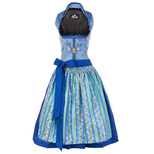 Almbock Exklusive Midi-Dirndl Janice blau-grün in Größe 34 36 38 40 42 - modernes Trachten-Kleid für Damen mit Stehkragen