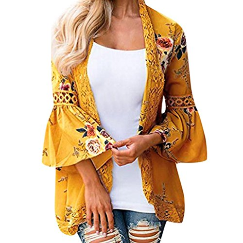 Gillberry Women's Sheer Chiffon Blouse Loose Tops Kimono Floral Print Cardigan with Lace (Yellow, L)