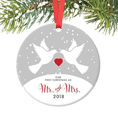 Love Bird Ornament (Love Birds Mr & Mrs Ornament 2018, 1st Married Christmas Porcelain Ornament, Doves First Married Christmas, 3