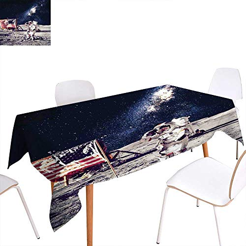 familytaste Outer Space Patterned Tablecloth American Spaceman on The Moon Future Solar Discovery in Deep Technology View Dust-Proof Oblong Tablecloth 54