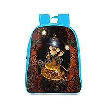 Farmost Funny Monkey Sitting on a Hat Backpack Blue School Bags Travel Bag Medium