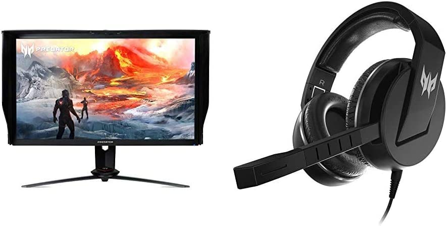 "Acer Predator XB273K Gpbmiipprzx 27"" UHD (3840 x 2160) IPS NVIDIA G-SYNC Compatible Monitor with Acer Predator Galea 311 True Harmony Sound Gaming Headset"