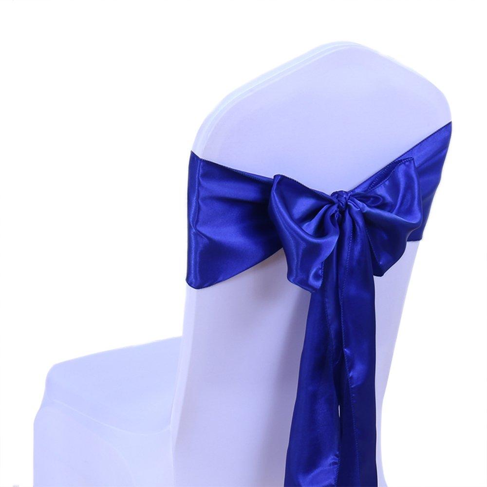 パックの100pcs結婚式装飾マルチカラーサテン椅子カバーBow Tiesでイベント&パーティー供給椅子サッシ SS-100  ロイヤルブルー B072Q1Z6JL