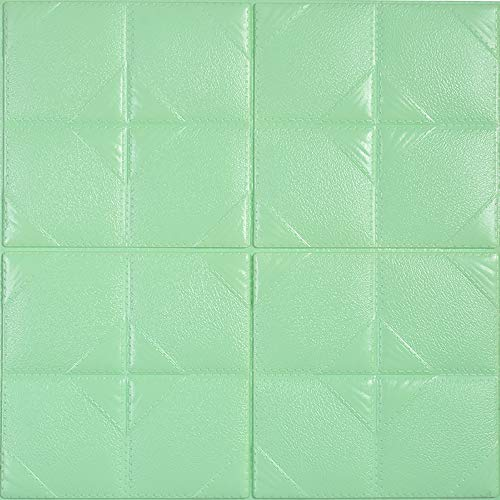 - YANGMAN 3D Self-Adhesive Wall Sticker XPE Foam Square Brick Effect Wall Panels for TV Sofa Background Children's Bedroom Living Room Wall Decor,60x60 cm, Light Green,40pack154.8sq.ft