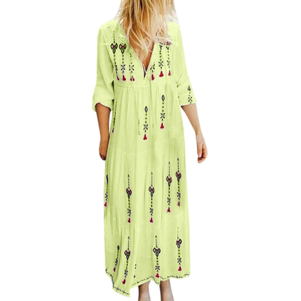 Women Plus Size V Neck Tank Print Long Sleeve SADUORHAPPY Boho Dress Party Straight Maxi Dress by SADUORHAPPY Dress