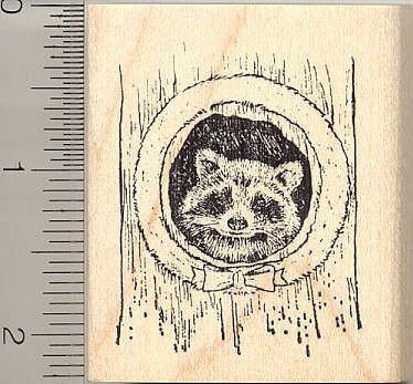 Raccoon with Wreath Rubber Stamp